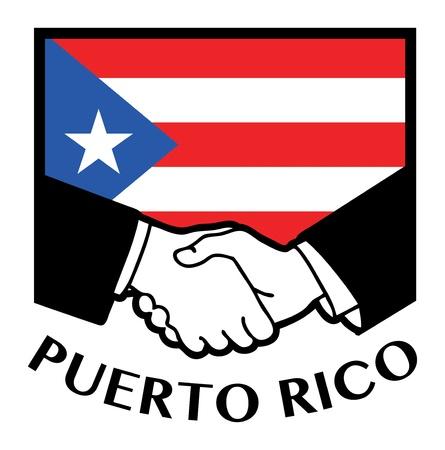 bandera de puerto rico: Bandera de Puerto Rico y de negocios apretón de manos Vectores
