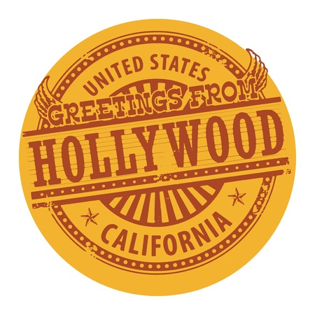 Grunge color stamp with text Greetings from Hollywood Vector
