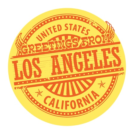 los angeles: Grunge Farbe Stempel mit Text Gr��e aus Los Angeles Illustration