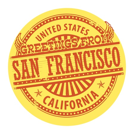Grunge color stamp with text Greetings from San Francisco Vector