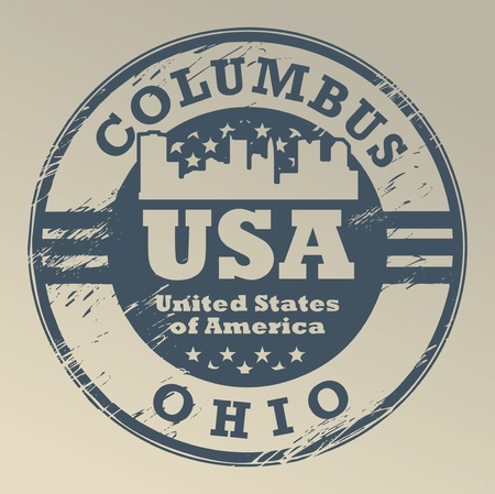 Grunge rubber stamp with name of Ohio, Columbus Vector