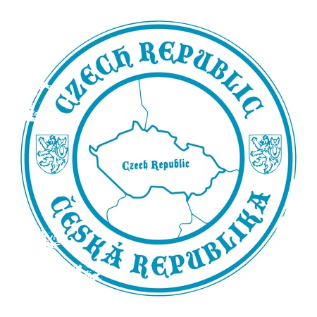 identifier: Grunge rubber stamp with the name and map of Czech Republic Illustration