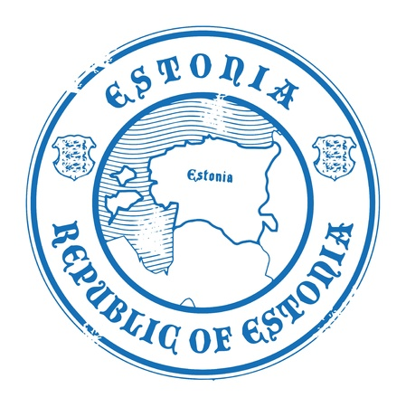 estonia: Grunge rubber stamp with the name and map of Estonia Illustration
