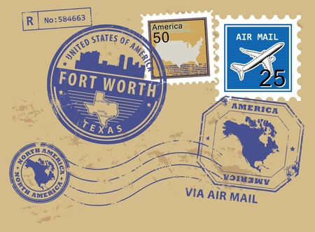 fort worth: Grunge rubber stamp set with name of Texas, Fort Worth