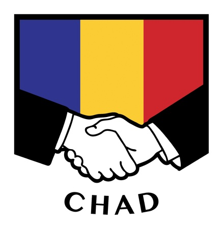 international business agreement: Chad flag and business handshake