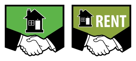 Symbol of house and business handshake Stock Vector - 18784232