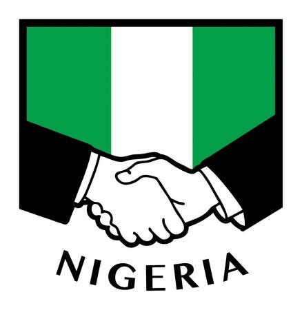 nigeria: Nigeria flag and business handshake