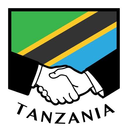 pacto: Tanzania bandera y el apretón de manos de negocios Vectores