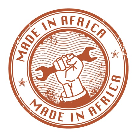 Grunge rubber stamp with words Made in Africa inside Vector