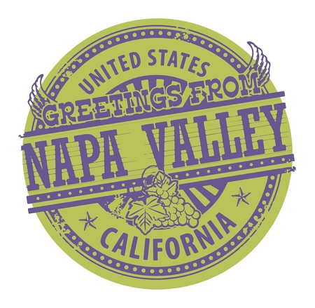 Grunge color stamp with text Greetings from Napa Valley Vector