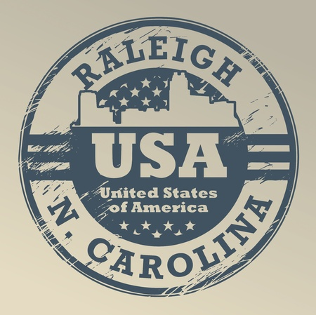 Grunge rubber stamp with name of North Carolina, Raleigh Vector