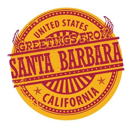 santa barbara: Grunge color stamp with text Greetings from Santa Barbara