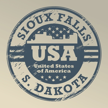 sioux: Grunge rubber stamp with name of South Dakota, Sioux Falls Illustration