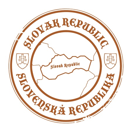 slovak: Grunge rubber stamp with the name and map of Slovak Republic Illustration