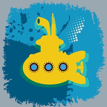 Yellow submarine abstract Stock Vector - 18784350