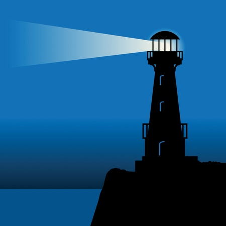 Lighthouse silhouette at night Illustration