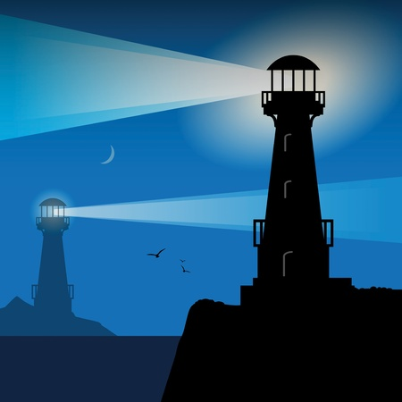 Lighthouse silhouette at night Ilustrace