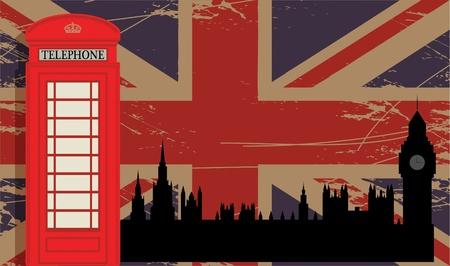 Phone booth and parliament on UK flag Stock Vector - 18784342