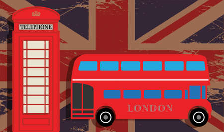 Phone booth and red bus on UK flag Vector