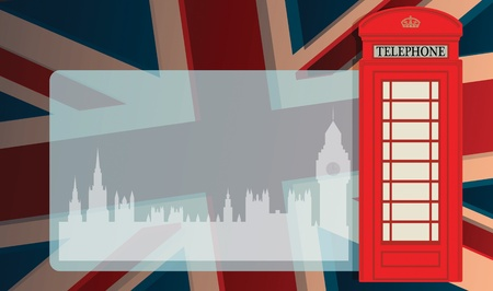 Phone booth and parliament on UK flag Vector