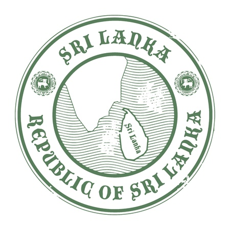 indochina peninsula: Grunge rubber stamp with the name and map of Sri Lanka Illustration