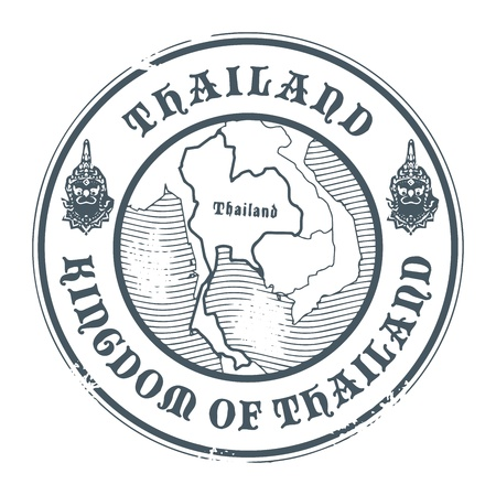 stamp passport: Grunge rubber stamp with the name and map of Thailand