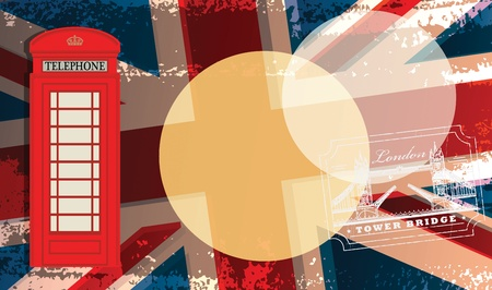 telephone booth: Phone booth on UK flag Illustration