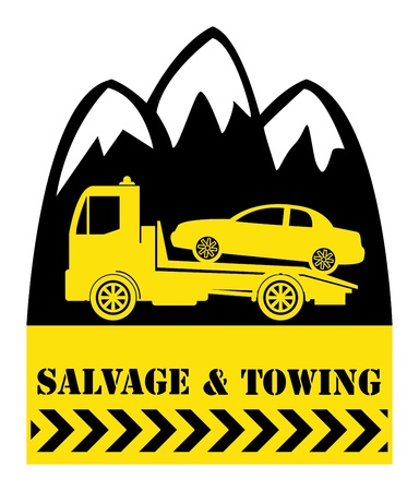 Car salvage and towing sign Vector