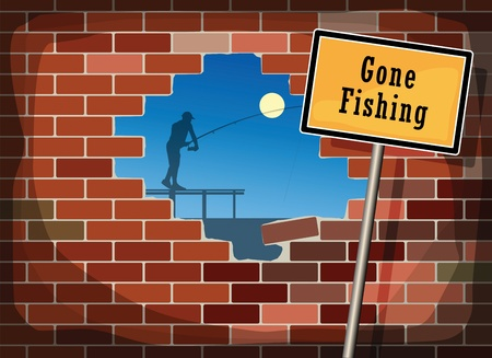 gone: Blue sky through a hole in a brick wall and text Gone Fishing Illustration