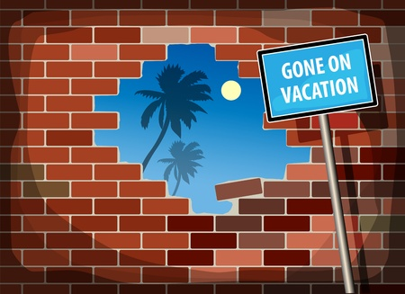 broken through: Blue sky with palm tree through a hole in a brick wall and text Gone on Vacation Illustration