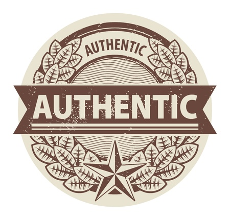 authenticity: Abstract grunge rubber stamp with words Authentic written inside the stamp