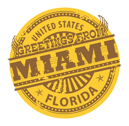 Grunge color stamp with text Greetings from Miami Vector