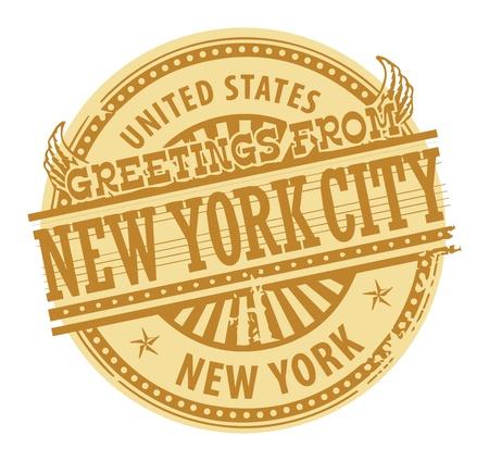timbre voyage: Grunge tampon de couleur avec des messages texte à partir de New York City