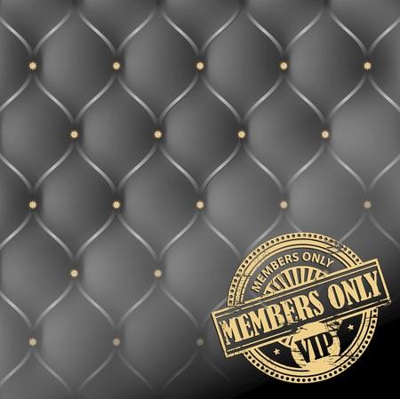 Grunge rubber stempel met de woorden Members Only, VIP binnen, op lederen bekleding achtergrond