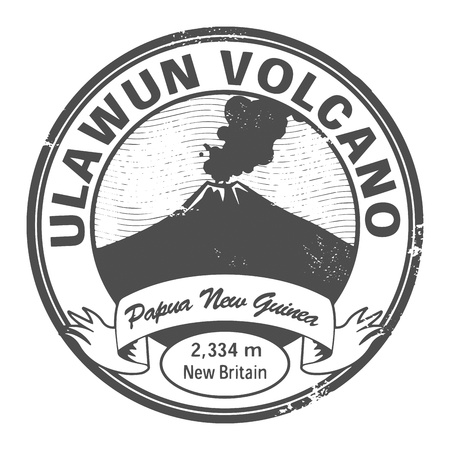volcano: Grunge stamp with words Ulawun Volcano, Papua New Guinea Illustration