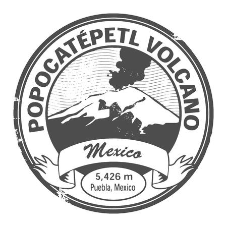 Grunge tampon avec des mots Popocatepetl Volcano, Mexique