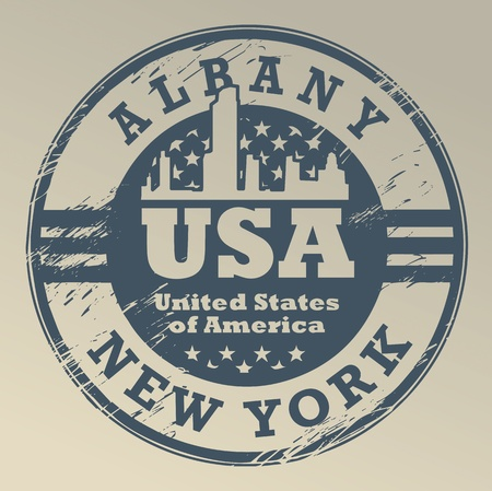albany: Grunge rubber stamp with name of New York, Albany