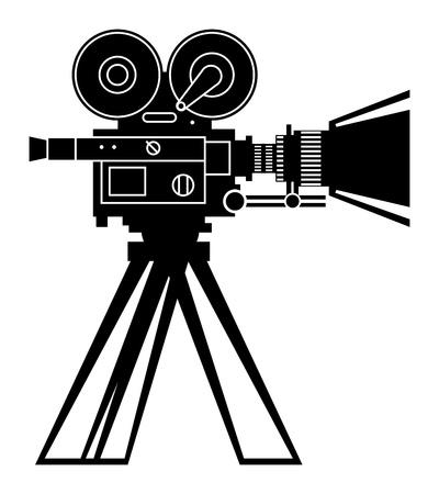 rarity: Retro professional cinema film camera Illustration
