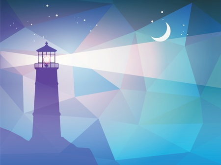 lighthouse at night: Lighthouse silhouette at night Illustration