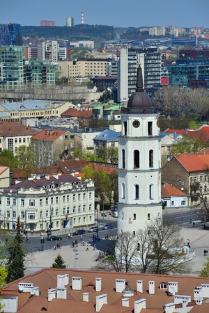 oldtown: Panorama of Vilnius, capital of Lithuania, Spring Stock Photo