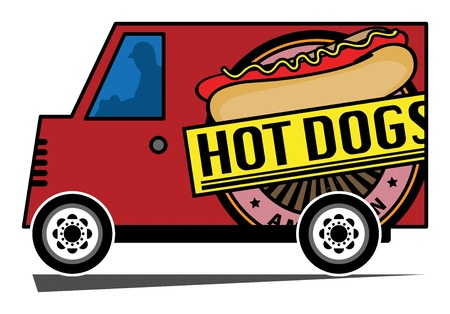 Hot Dogs delivery truck Vector