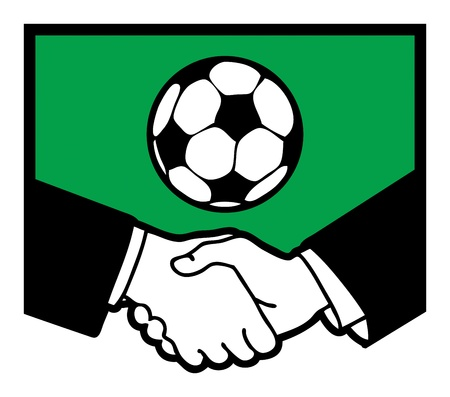 syndicate: Football symbol and business handshake Illustration