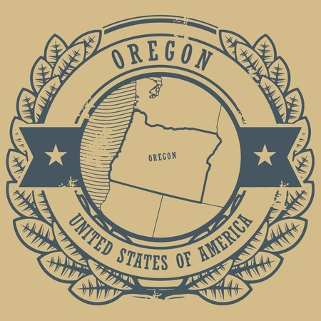 portland: Grunge rubber stamp with name and map of Oregon, USA