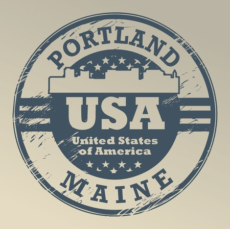 Grunge rubber stamp with name of Maine, Portland Stock Vector - 19505294