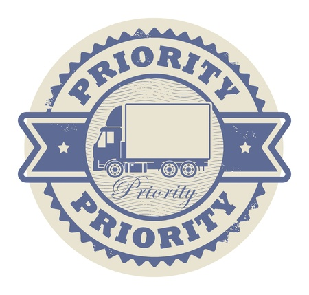 express delivery: Grunge rubber stamp with a delivery car and the text Priority written inside the stamp