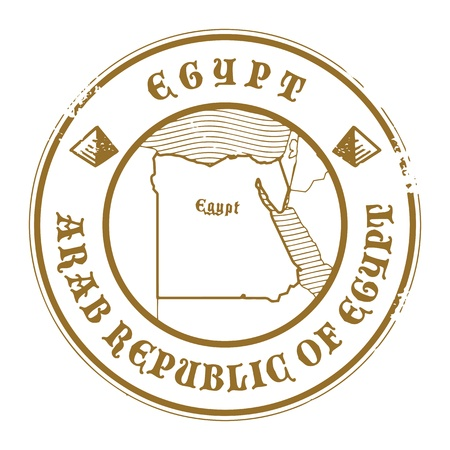 Grunge rubber stamp with the name and map of Egypt Vector