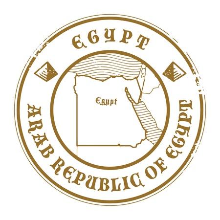 post stamp: Grunge timbro di gomma con il nome e la mappa di Egitto