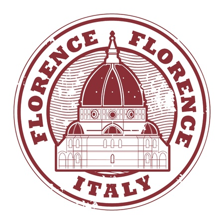 florence   italy: Grunge rubber stamp with words Florence, Italy inside