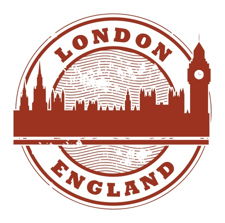 large office: Stamp with London, England inside Illustration
