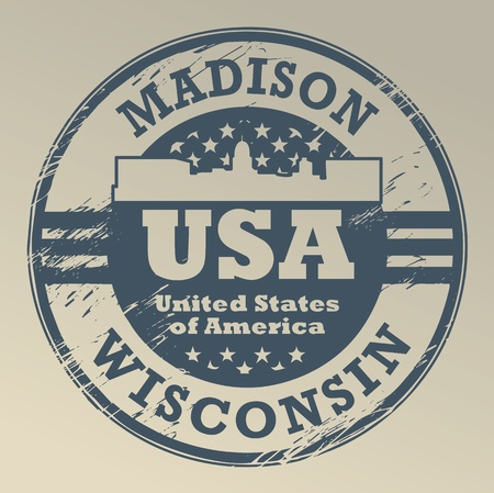 state of wisconsin: Grunge rubber stamp with name of Wisconsin, Madison Illustration